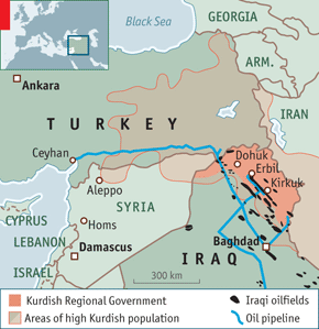 کردستان و کشور های چهار گانه. منبع: اکونومیست چاپ لندن