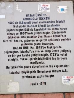 لوحه ورودی خانقاه حسن انسی آیدین اوغلی که در سال 1509 میلادی از طرف محی الدین محمد تبریزی در استانبول ساخته شده
