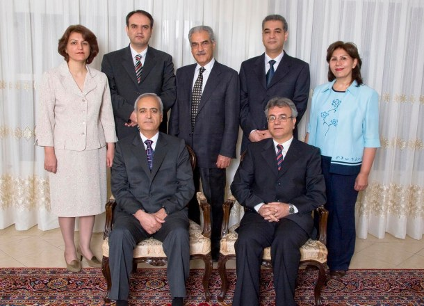 All seven Bahá'ís who have been arrested, six of them in early-morning raids on 14 May 2008. Seated from left, Behrouz Tavakkoli and Saeid Rezaie, and, standing, Fariba Kamalabadi, Vahid Tizfahm, Jamaloddin Khanjani, Afif Naeimi, and Mahvash Sabet.