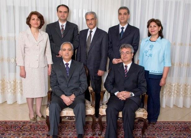 All seven Bahá'ís who have been arrested, six of them in early-morning raids on 14 May 2008. Seated from left, Behrouz Tavakkoli and Saeid Rezaie, and, standing, Fariba Kamalabadi, Vahid Tizfahm, Jamaloddin Khanjani, Afif Naeimi, and Mahvash Sabet.