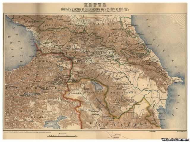 نقشه قدیم روسی: مرز ایران و روسیه بعد از عهدنامه گلستان
