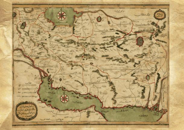 کاتب چلبی: «شاهان صفویانین مالک اولدوقلاری ایرانین رسم اجمالیسی دیر»، حدود سال 1620 میلادی