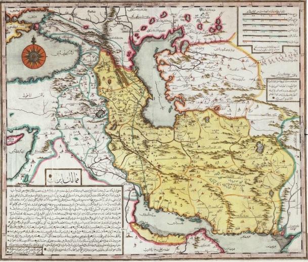 نقشه ابراهیم متفرقه افندی از «ممالک ایران»، حدودا سال 1729 میلادی، استانبول