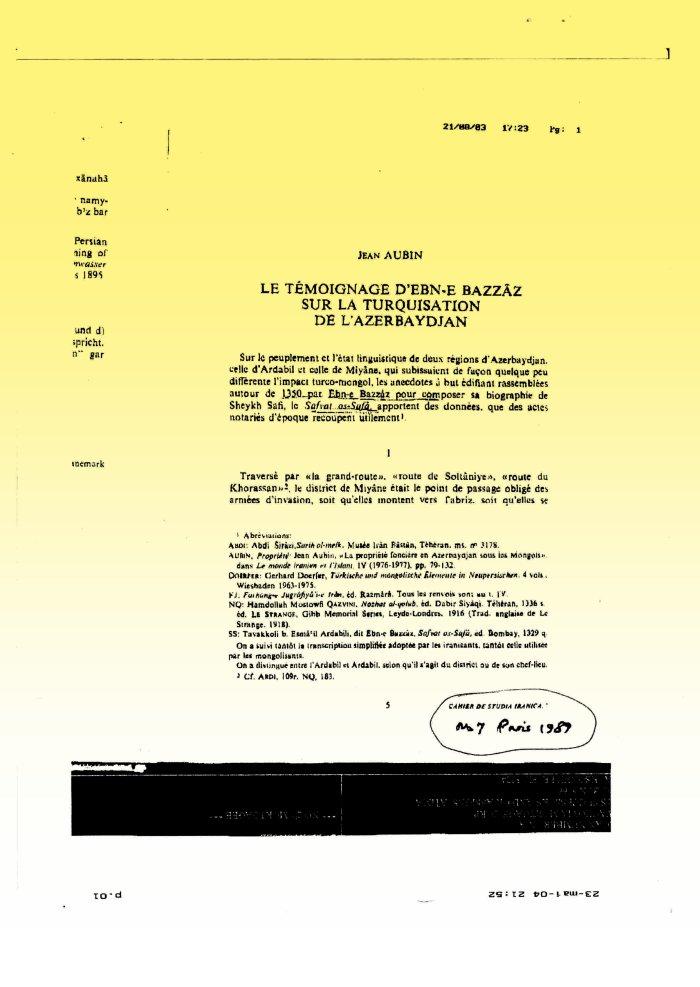 Jean Aubin (1978): Le Temoignage d'Ebn-e Bazzaz sur la turquisation de l'Azerbaydjan (p1)