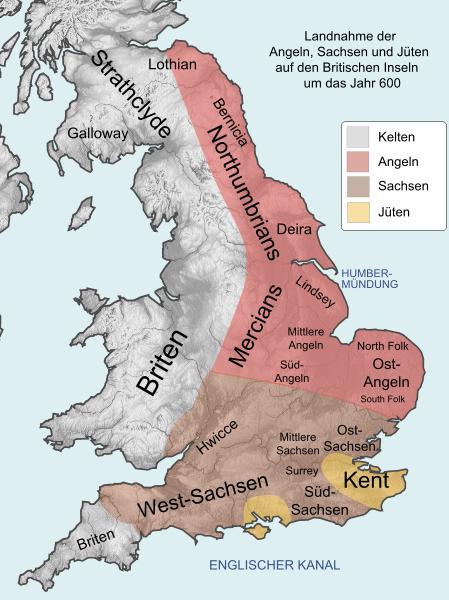 اقوام بریتانیا حدودا در سال 600 میلادی