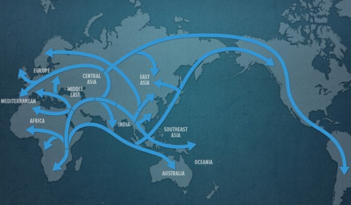 سیر احتمالی مهاجرت های نوع کنونی بشر از آفریقا به دیگر نقاط دنیا حدود 60از -70 هزار سال پیش به بعد - نقشه نشنل جئوگرافیک