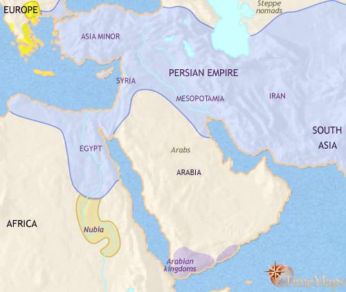- ایران هخامنشی سال 500 قبل از میلاد - برای بزرگ کردن نقشه رویش کلیک کنید