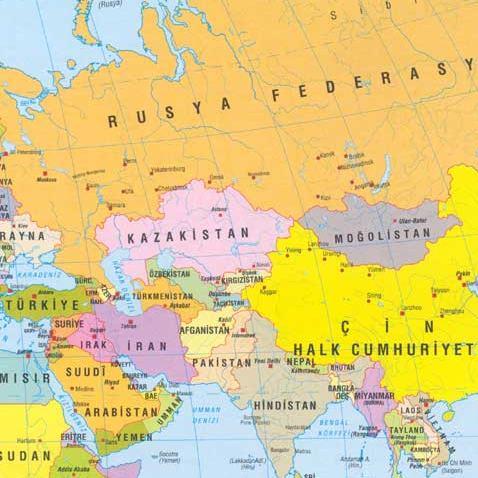 نقشه ترکی آسیای مرکزی، آسیای صغیر و خاورمیانه