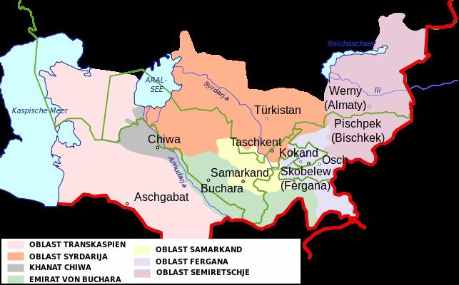 نقشه «ترکستان روس» در سال 1900 میلادی
