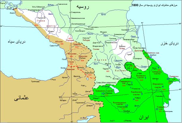 مرزهای رسمی ایران، روسیه و عثمانی در سال 1800