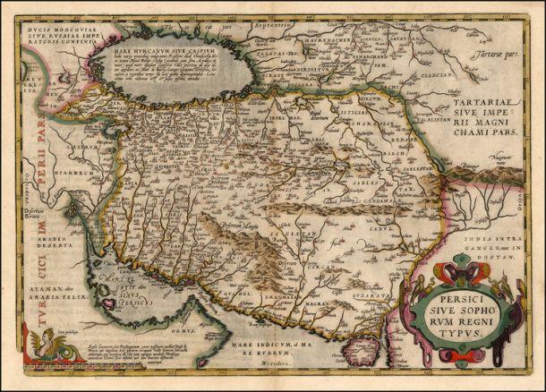 "نقشه هلندی صفویان ""سلاطین صوفی ایران"" از 1579ريال شهر آنتورپن"