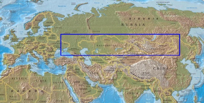 استپ های اوراسیا، از آلتای و مغولستان تا شمال دریای سیاه و اوکرائین