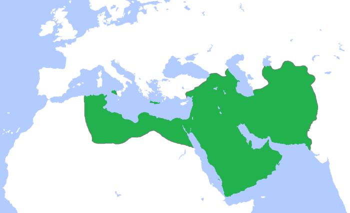 گستره خلافت عباسیان در 850 میلادی