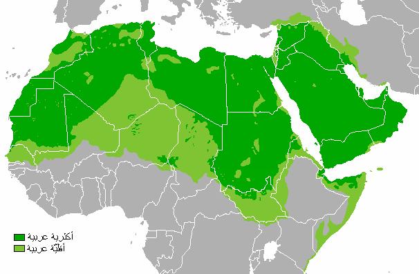 جغرافیای کاربرد عربی همچون زبان نخست
