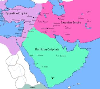 نقشه خلافت مسلمانان، امپراتوری ساسانی و امپراتوری روم شرقی پیش از آغاز جنگ