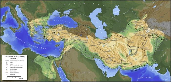 نقشهٔ امپراتوری اسکندر و مسیر لشکرکشی او