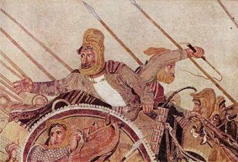 داریوش سوم در نبرد ایسوس با اسکندر، از یک کاشی کاری رومی (منبع: ویکی انبار)