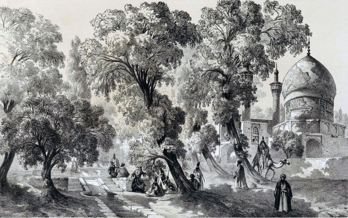 خیابان چهار باغ و مسجد شاه سلطان حسین ، اصفهان (اوایل قاجار)