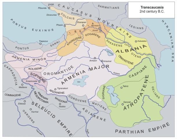 نقشه ماوراء قفقاز در زمان اشکانیان (سده دوم پ.م.)، منبع: ویکی پدیا