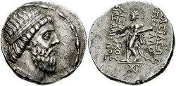 سکه مهرداد یکم نخستین شاه اشکانی با نوشته یونانی