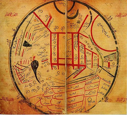 نقشه معروف محمود کاشغری از قرن یاردهم، منبع ویکی پدیا